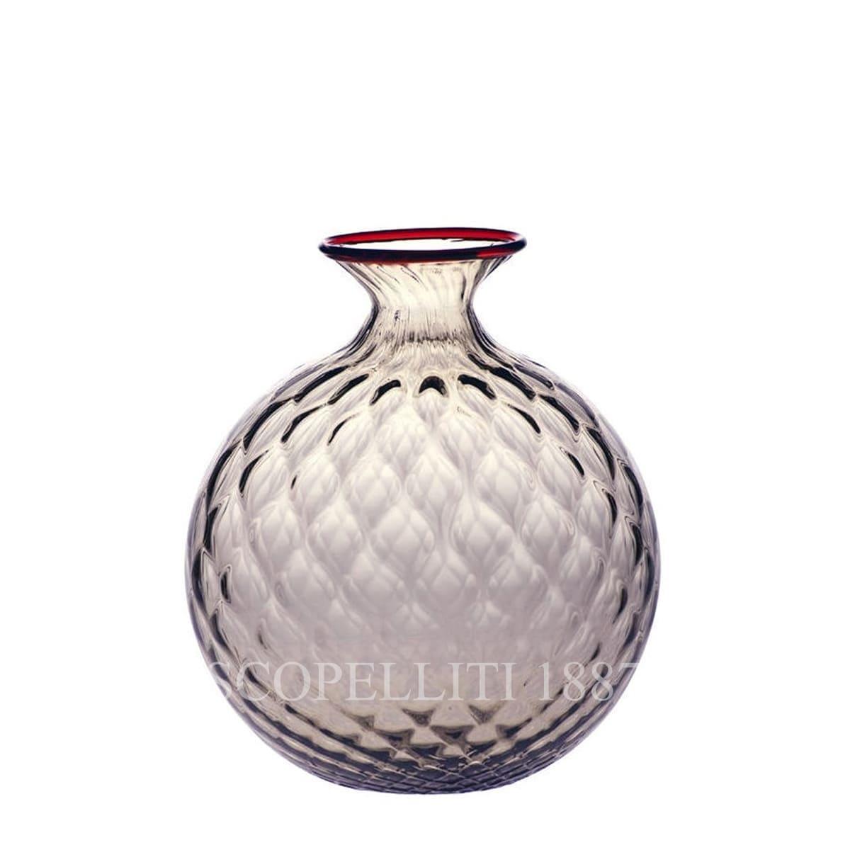 venini murano glass italian monofiore balloton vase limited edition taupe