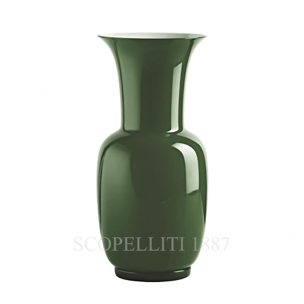venini opaline italian murano glass vase green