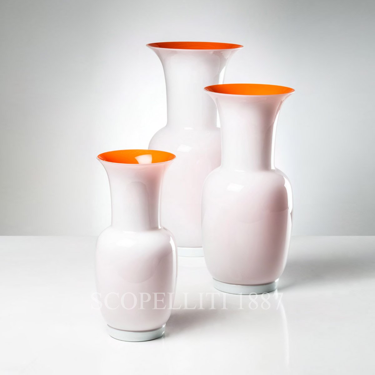 new venini vases white orange