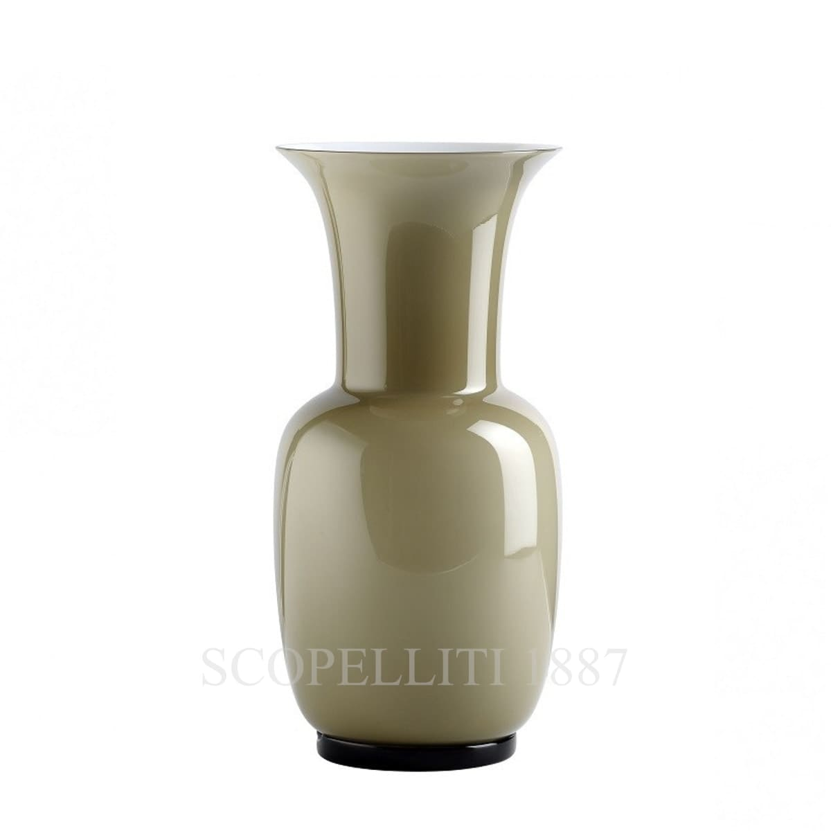 venini italian glass vase grey