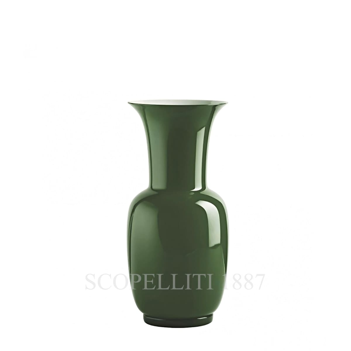venini italian glass vase green