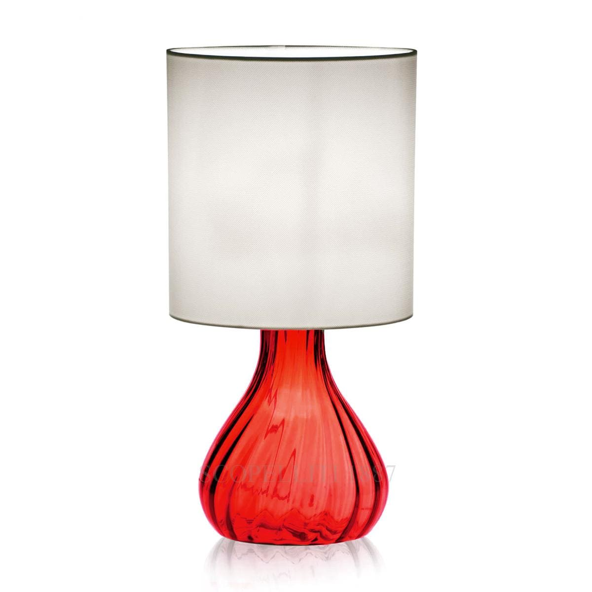 venini italian designer red seltz table lamp murano glass