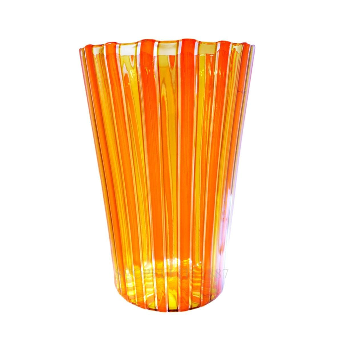 Venini Reed Murano glass Vase orange