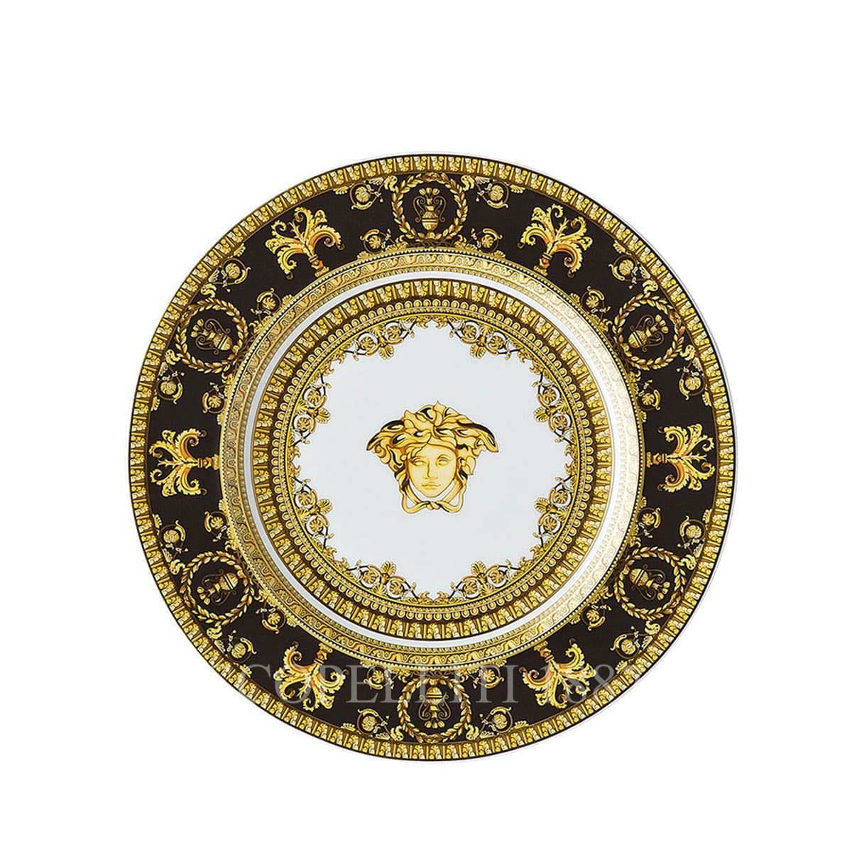 versace italian design i love baroque black small plate golden