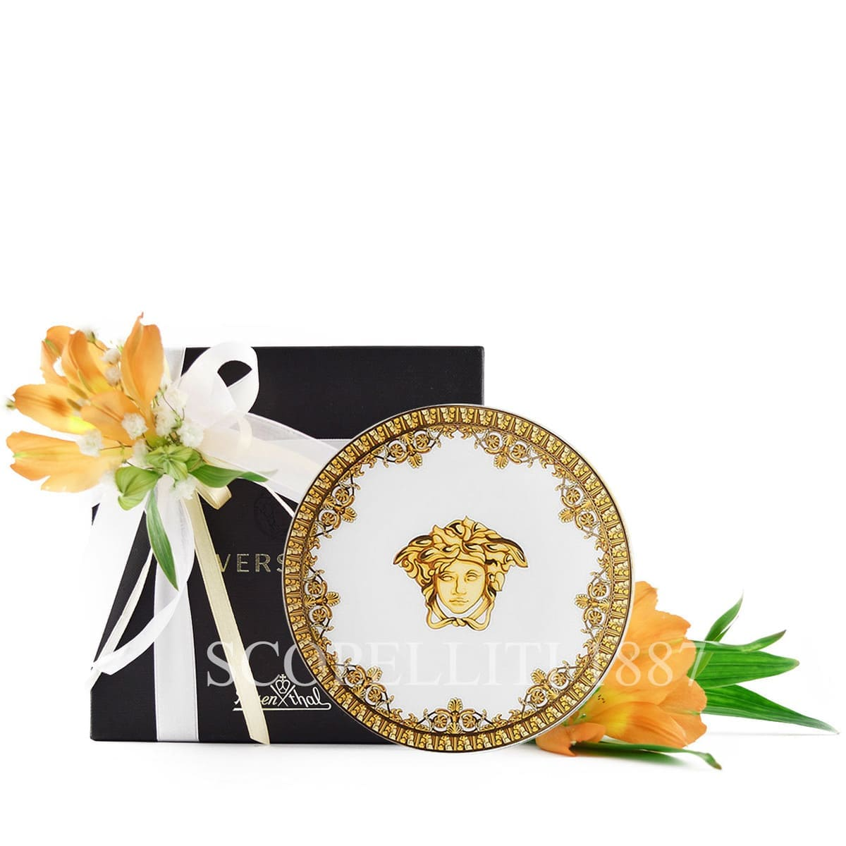 versace i love baroque white and golden small plate fine italian design
