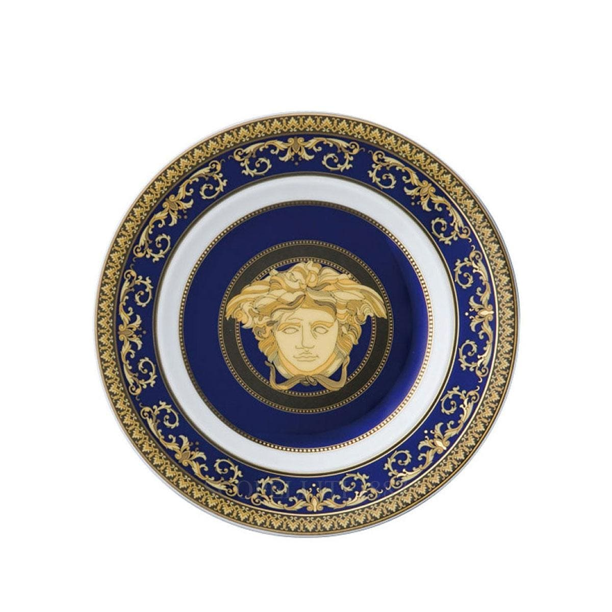 versace italian design medusa blue golden small plate