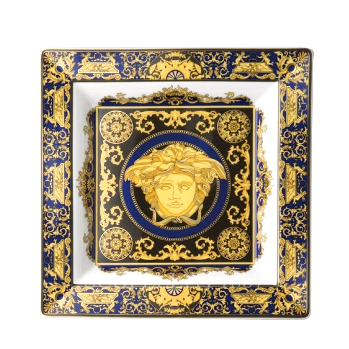 versace italian design medusa blue golden square dish