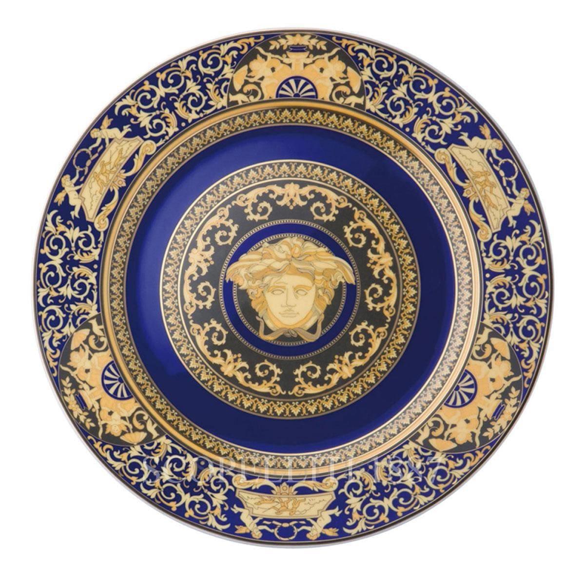 versace italian design medusa blue golden wall plate large