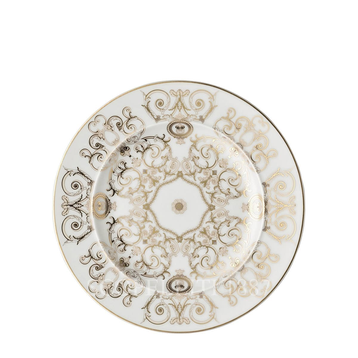 versace italian design medusa small plate white and golden