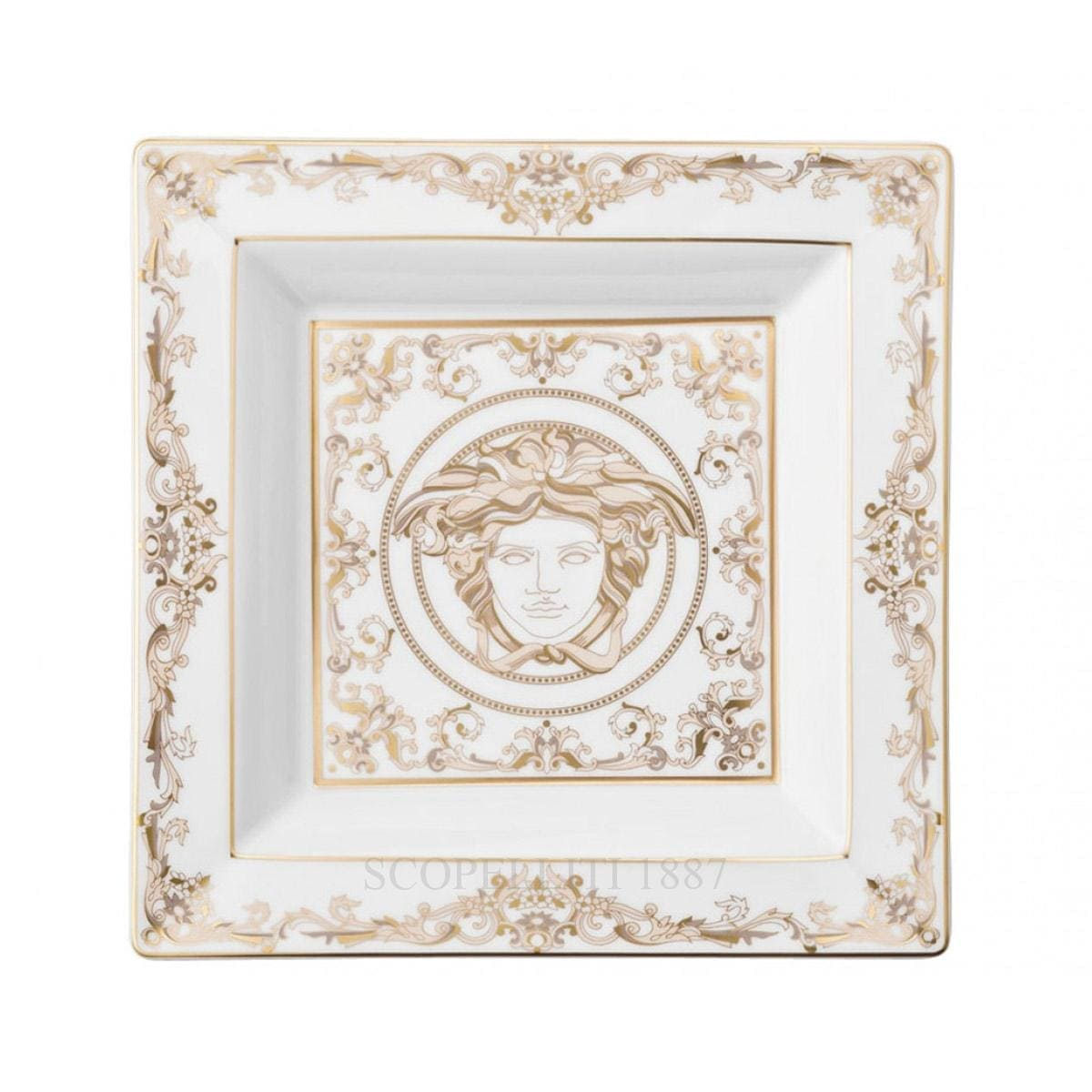 versace italian design medusa gala square dish white and golden