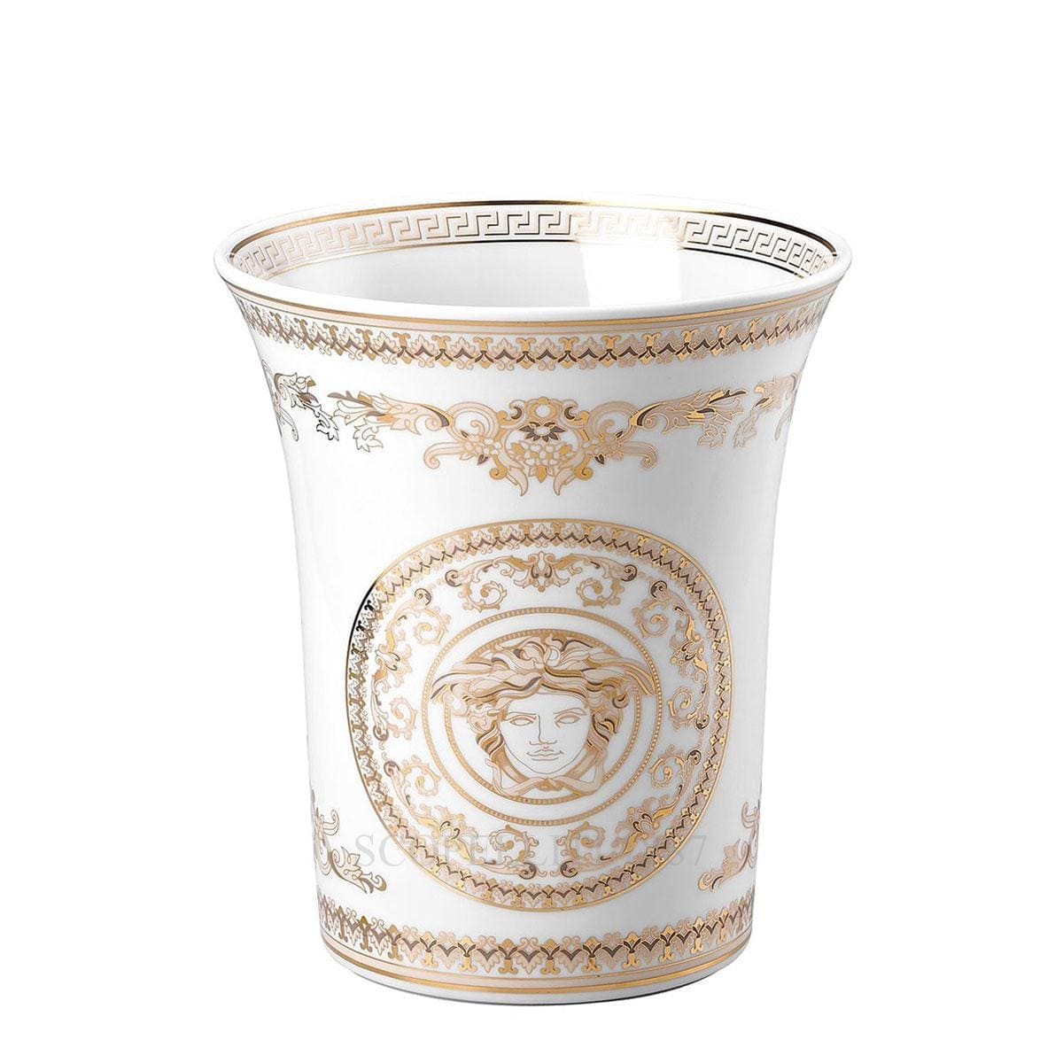 versace italian design medusa gala vase white and golden small