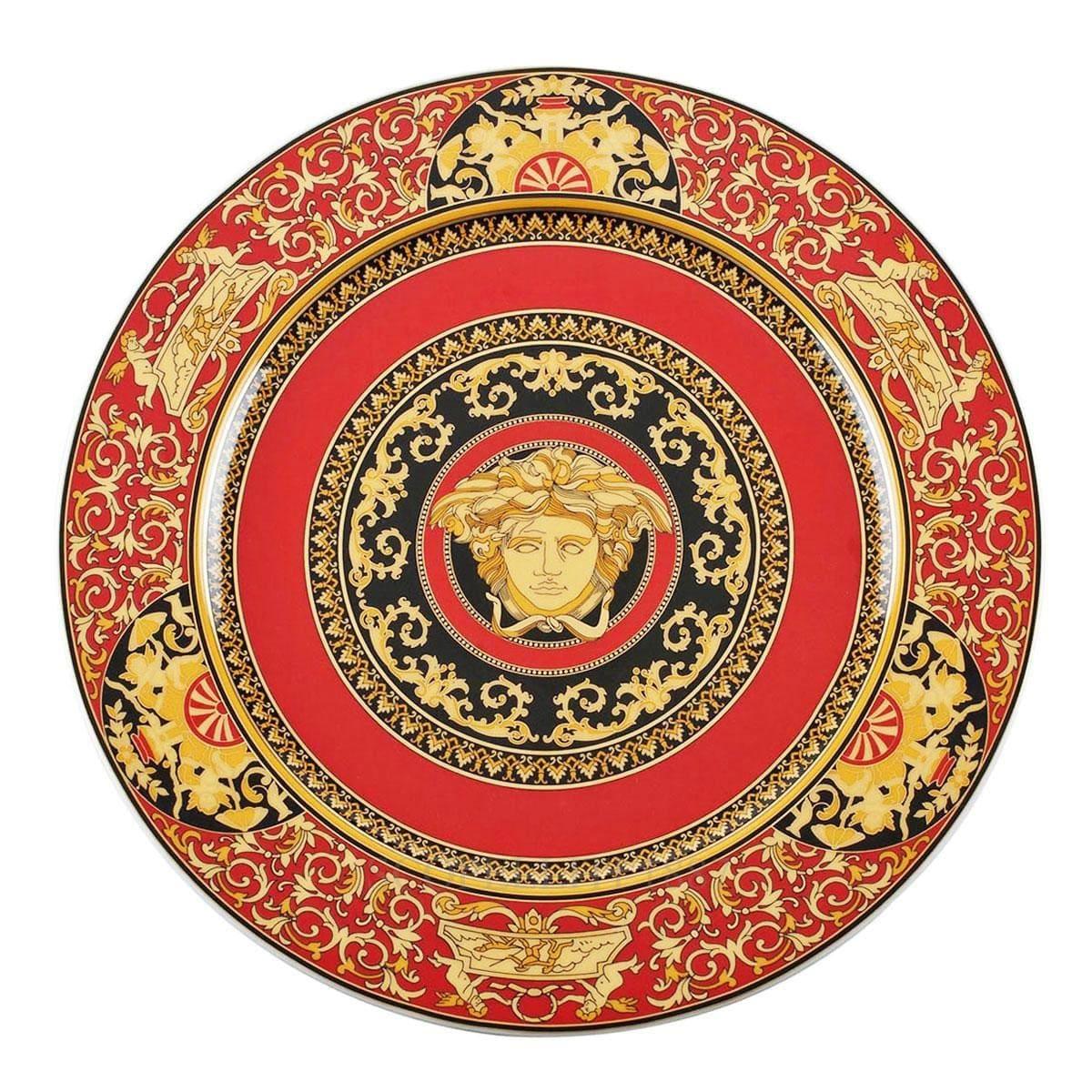 versace italian design medusa service plate red golden