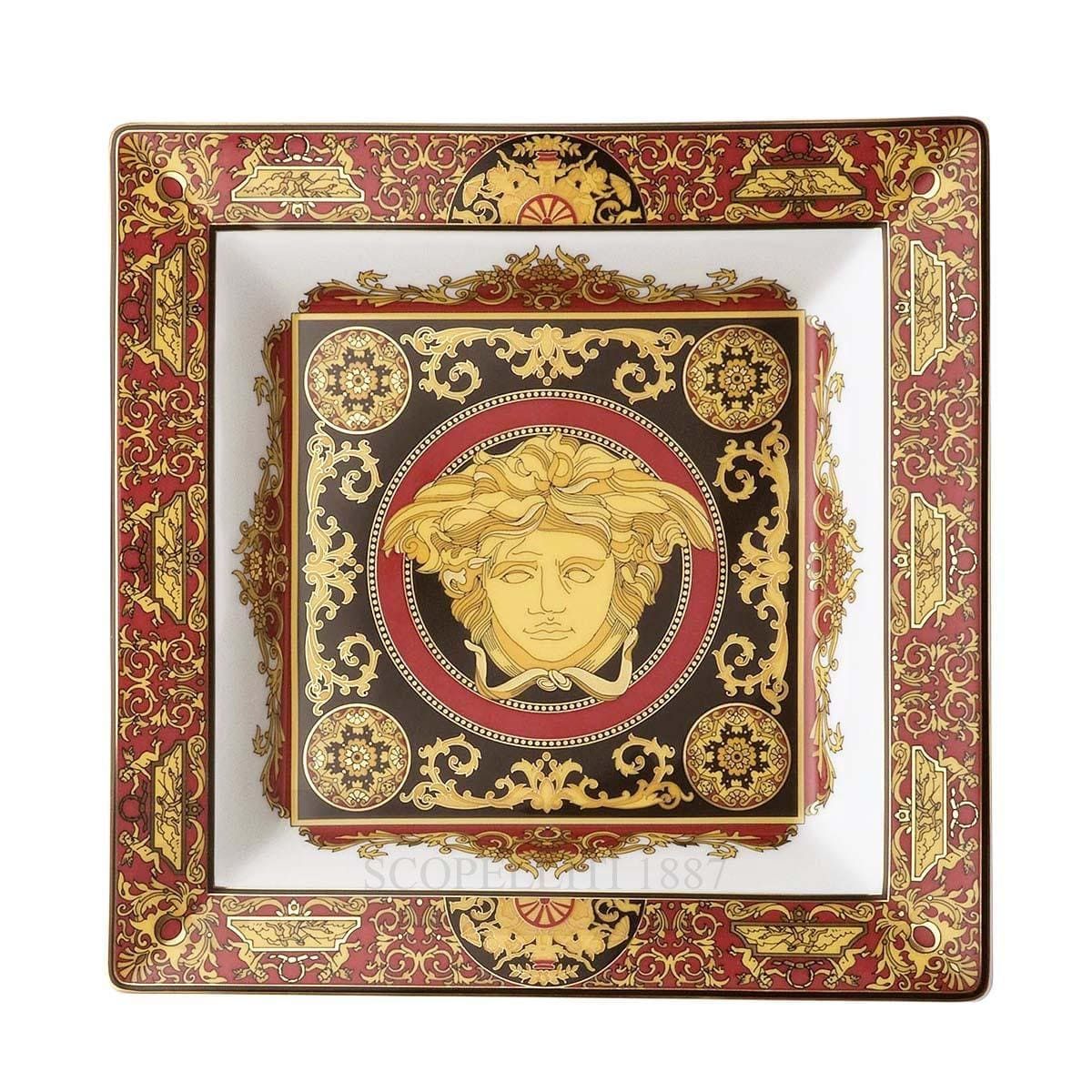 versace medusa square dish italian design red golden large