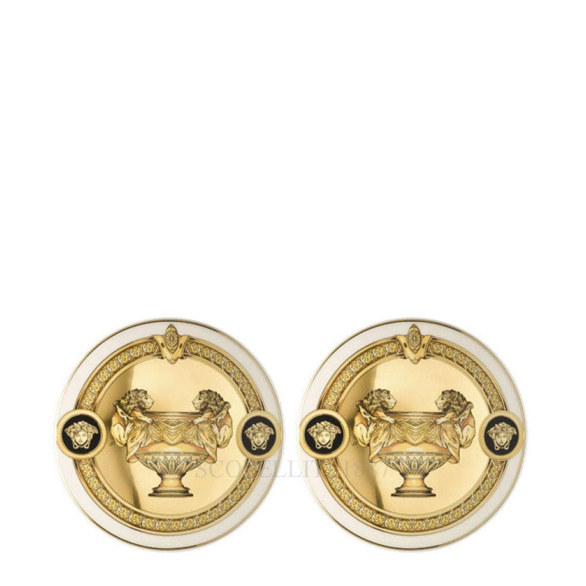 versace italian design prestige gala set of two glass coasters golden