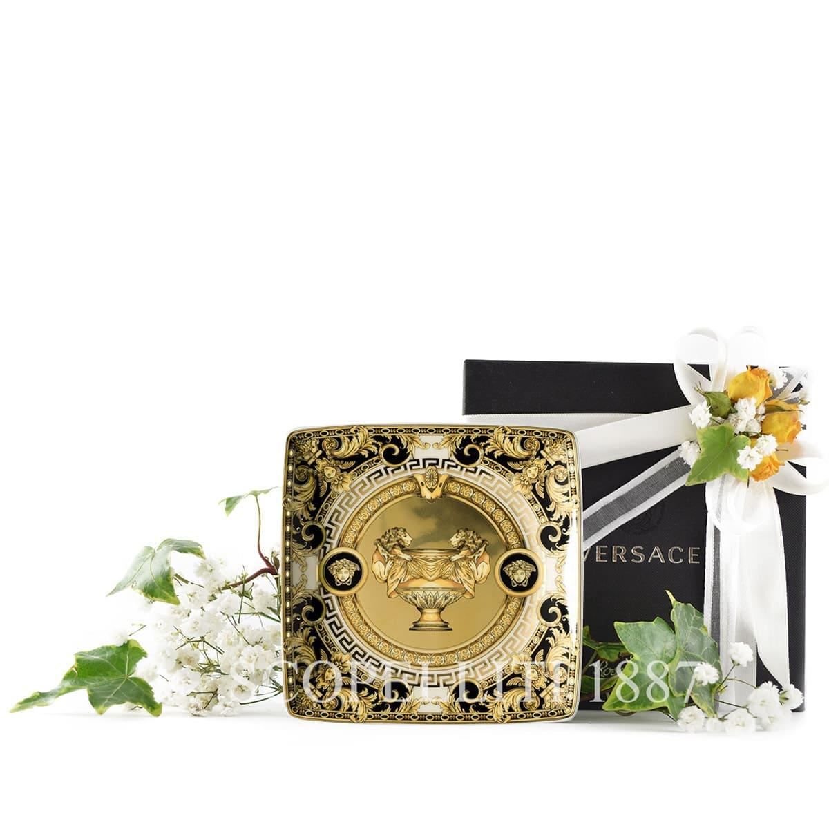 versace italian design prestige gala square dish golden black