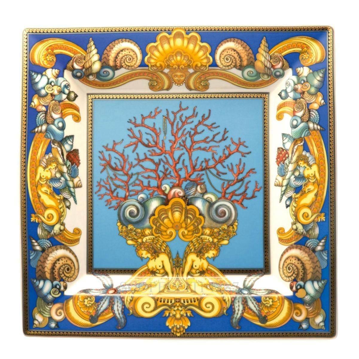 versace italian design tresors de la mer square plate large