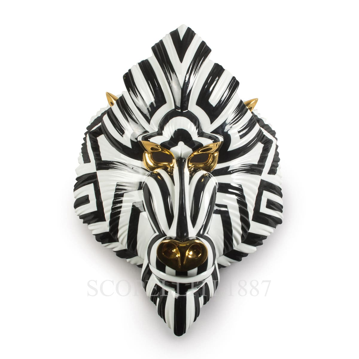 fierce portraits mandrill mask black gold by Lladro