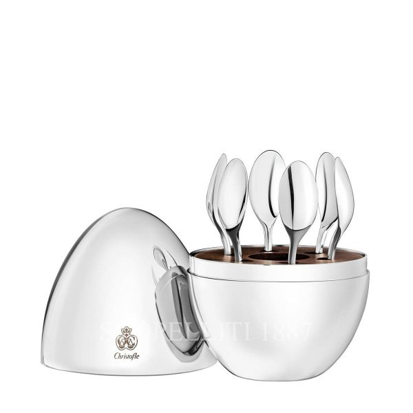 mood by christofle 6 espresso spoons with egg case