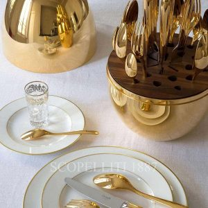 mood by christofle 24 pieces gilded flatware with egg case