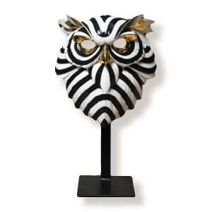 lladro owl fierce mask with stand
