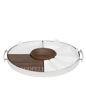 christofle mood party tray wood and white porcelain