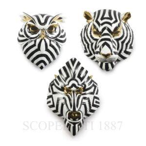lladro set of three fierce masks porcelain
