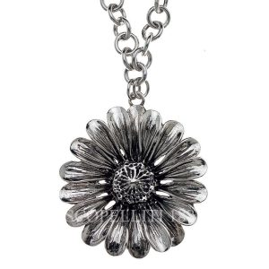 sterling silver marigold flower necklace