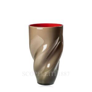 torcia venini vase taupe red