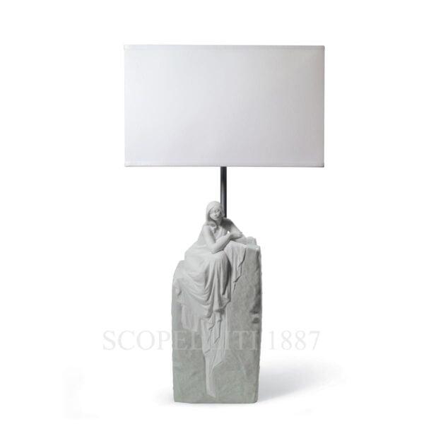 lladro porcelain table lamp meditating woman