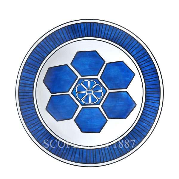 Hermes bleus d ailleurs round deep platter porcelain