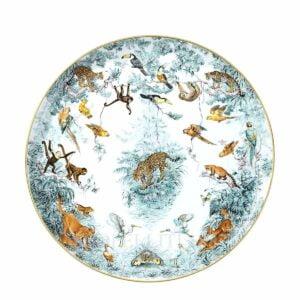 hermes limoges porcelain carnets d equateur round platter large