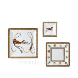 hermes limoges oprcelain cheval d orient set of 3 square plates
