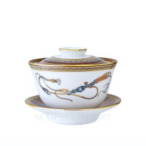 hermes limoges porcelain cheval d orient tea cup with lid and saucer large