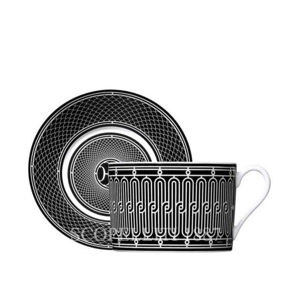 hermes limoges porcelain h deco breakfast cup and saucer