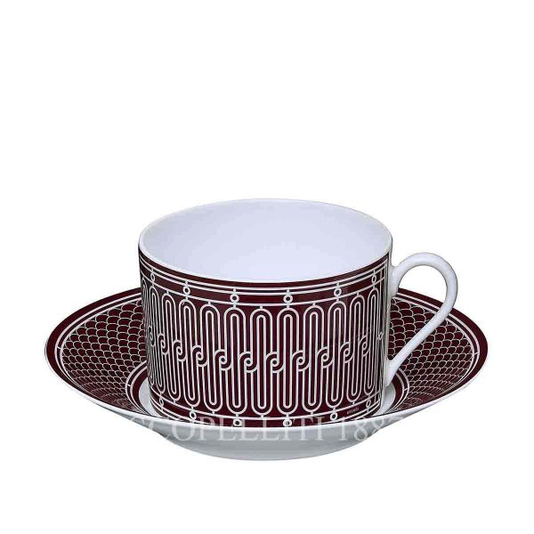 hermes limoges porcelain h deco rouge breakfast cup and saucer