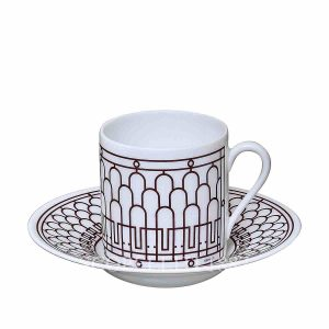 hermes limoges porcelain h deco rouge coffee cup and saucer