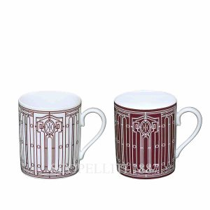 hermes limoges porcelain h deco rouge set of 2 mugs