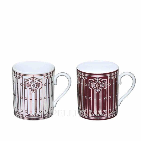 hermes limoges porcelain h deco rouge set of 2 mugs