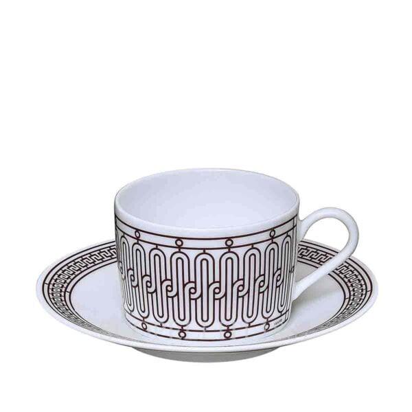 hermes limoges porcelain h deco rouge tea cup and saucer
