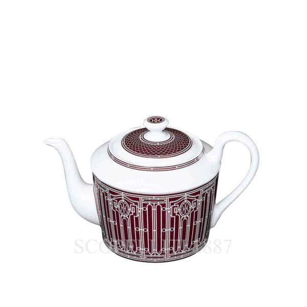 hermes limoges porcelain h deco rouge teapot