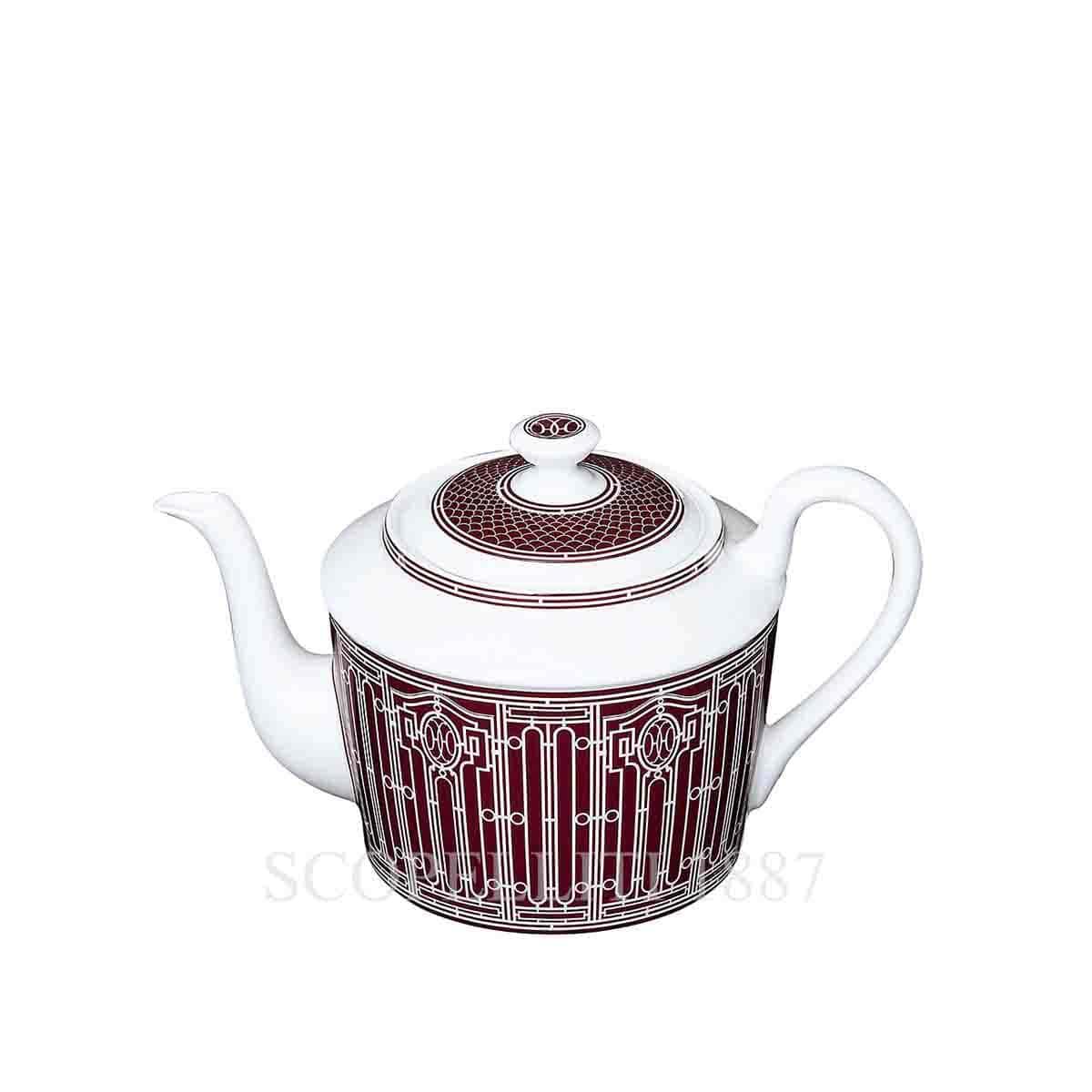 Hermes H Deco Red Teapot 6 Persons Scopelliti 1887