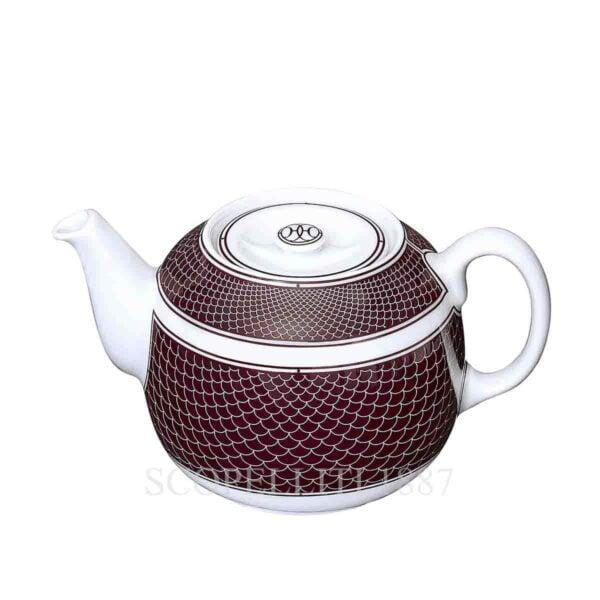 hermes limoges porcelain h deco rouge teapot small