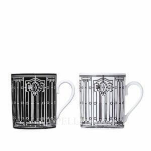 hermes limoges porcelain h deco set of 2 mugs
