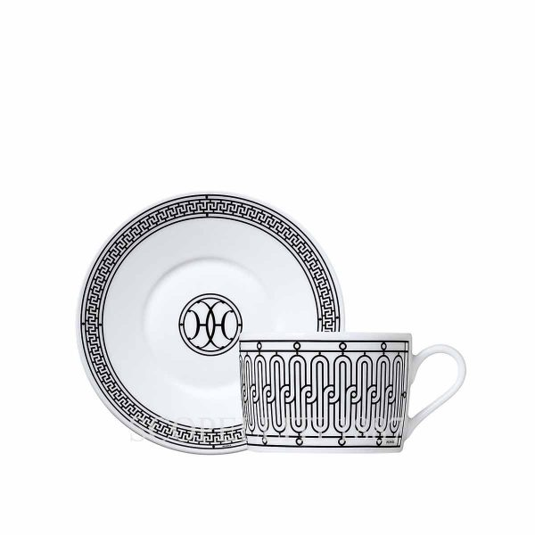 hermes limoges porcelain h deco tea cup and saucer