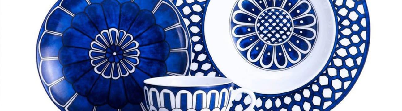 hermes bleus d ailleurs limoges porcelain cobalt blue