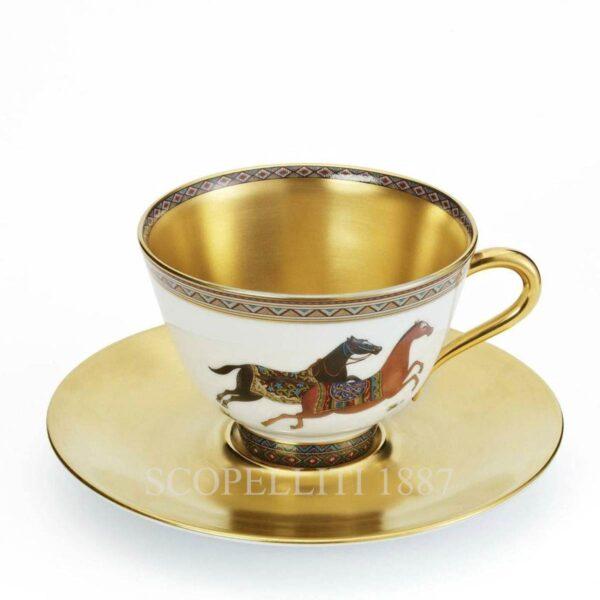 hermes cheval dorient golden tea cup