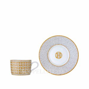 hermes limoges porcelain mosaique au 24 gold tea cup and saucer