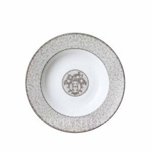 hermes limoges porcelain mosaique au 24 platinum soup plate