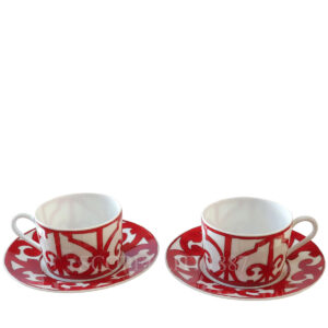 hermes red tea cups