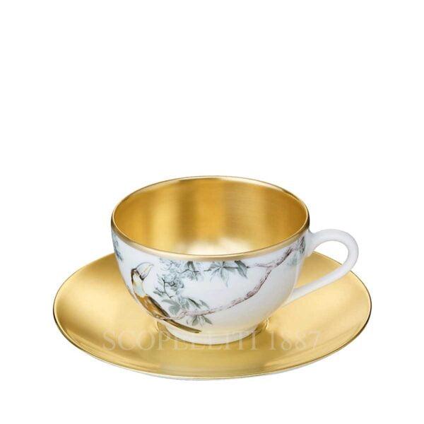 hermes gold tea cup and saucer carnets d equateur or